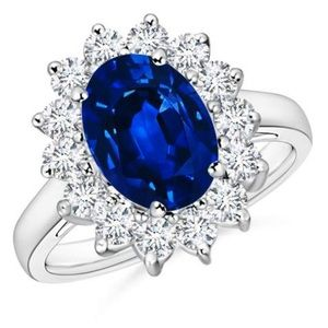 4 carat Sterling Silver Halo Blue Sapphire Ring